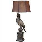Carved Wooden Falcon Lamp