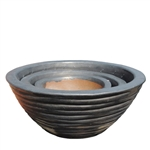 Ribbed Planter Bowls - Grey