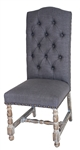 Aston Chair Linen Tufted Grey