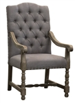 Aston Arm Chair Linen Grey Tufted