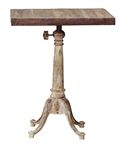 Square Cast Iron and Wood Bistro Table