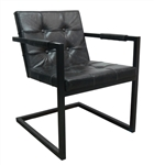 Bronx Charcoal Leather Club Chair