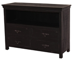 Monroe Wood 4 Drawer TV Stand Black