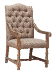 Aston Arm Chair Linen Brown Tufted