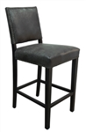 Bronx Grey Leather Barstool