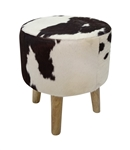 Black and White Cowhide Stool With Wood Legs