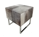 Grey Square Cowhide Stool