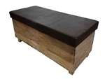 Vintage Brown Bench with Storage