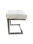 White Cowhide Stainless Steel Ottoman