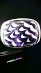 Blue Dichro and White Swirl Belt Buckle w/ Black XL Belt