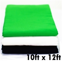 Package of  10ft x 12ft black white green muslin backdrop