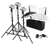 NEW PRO 3 HEAD COMPLETE STROBE STUDIO FLASH MONOLIGHT KIT SOFTBOX SET