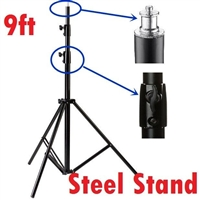 Pro 9' Chrome Plated Steel Light Stand with Leveling Leg Heavy duty warranty