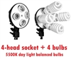Photo 4 x E27 Light Socket Umbrella Bracket Light fixture & 4 x 5500K 45W bulbs