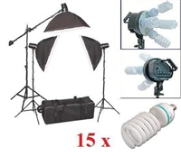 Pro 3000W Video Photo Studio Boom Arm light Softbox Continuous Fluorcent  kit