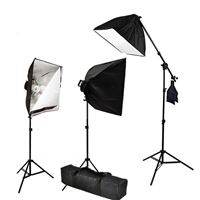 Pro 3-Head Continuous Lighting Photo Studio Softbox Fluorecent Video Kit