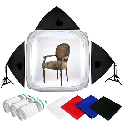 Pro STUDIO IN A BOX 1500 watt output 48 inch PHOTO LIGHT TENT PHOTOGRAPHY SET