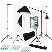 Photography Softbox 2400W Fluorescent video Continuous Boom Light Backdrop Kit