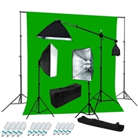 Pro 2400W Video Studio Boom Continous Vidoe Light Chroma Key Backdrop Stand kit
