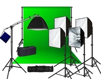 Pro 5-Head 4000 W Continuous Light Softbox Fluorecent Boom Stand Backdrop Kit