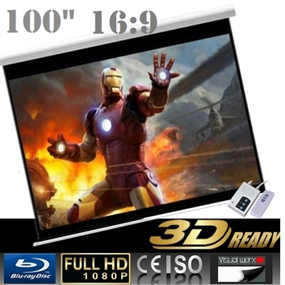 "Pro 100"" 16:9 Electric Auto Projector Motorized Projection Screen Home theater"
