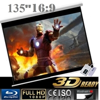 "Pro 135"" 16:9 Electric Auto Projector Motorized Projection Screen Home theater"