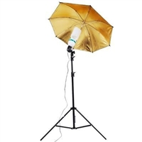 Single Black/gold reflective Umbrella Video background Light Kit