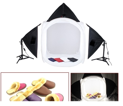 "STUDIO IN A BOX PHOTO LIGHT 24"" TENT PHOTOGRAPHY 3 HEAD CONTINUOUS LIGHTING SET"