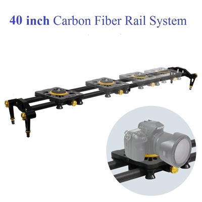 Pro 40-inch DSLR Camera Slider Dolly Track, Video Stabilizer, Carbon Fiber Rail System, High Precision Smooth Bearing Slide with Standard Mount and Spirit Level, Photo Studio