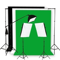 Photo Softbox 2400W Fluorescent video Continuous Boom Light B/WG Backdrop Kit