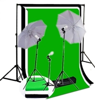3-LIGHT PHOTO UMBRELLA LIGHT High Key Muslin BACKDROP STAND KIT