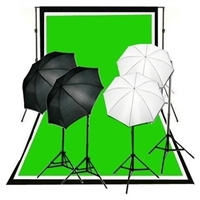 Photo 4-head Reflective Umbrella Continuous Light Muslin Backdrops Support Kit
