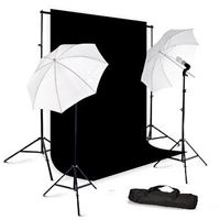 Photo Umbrella Continuous Lighting Black Muslin Backdrop Stand Kit