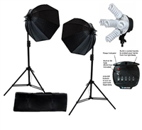 Photo Octagon Softbox 2000 watt Fluorescent video Continuous Boom Lighting Kit