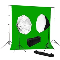 Photo Softbox 2000 watt Video Continuous Lighting Kit  10'x12' chroma key green