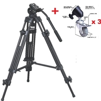 "Pro Heavy Duty EI-717 72"" Video Tripod with Fluid Pan Head & Castor wheels"