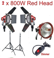 Dimmable 2 x 800W Red Head Light Redhead Continuous Light Kit Photo Video Focus