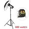 PRO 600W STROBE STUDIO FLASH LIGHT HEAD BOWENS COMPATIBLE UMBRELLA SET