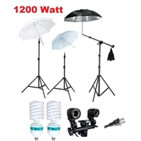 NEW Studio Photo 1200 Watt Umbrella Continuous Boom Stand Backdrop Lighting Kit
