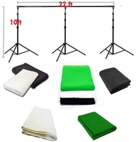 Pro 10ft x 22ft heavy duty backdrop support system & optional muslin backdrops