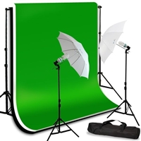 Photo Umbrella Lighting Kit Black White Chroma Key Green Muslin Backdrops Kit