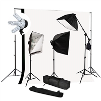 Photo Softbox 2400W Fluorescent video Continuous Boom Light B/W Backdrop Kit