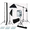 Photography Softbox 2400W Fluorescent Continuous Boom Light Studio Backdrop Kit