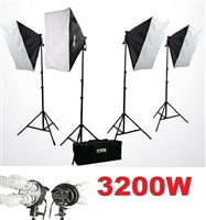 Digital Photography Softbox 3200 Watt Fluorescent video Continuous Lighting Kit