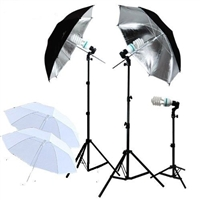 3-HEAD PHOTO LIGHTING PHOTO STUDIO UMBRELLA CONTINUOUS LIGHTING SET 4 umbrellas