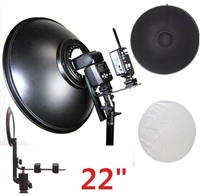 "22"" Beauty Dish Honeycomb & White Diffuser speedlight Nikon Canon Pocket Wizard"