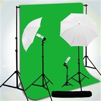 3-LIGHT PHOTO UMBRELLA LIGHT Chromakey Green BACKDROP STAND KIT