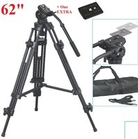 "Pro Heavy Duty EI-717 62"" Video Tripod with Fluid Pan Head & case"
