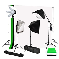 Photo Softbox 2500W Fluorescent video Continuous Boom Light B/WG Backdrop Kit
