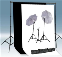 3-LIGHT PHOTO UMBRELLA LIGHT BLACK WHITE BACKDROP STAND KIT